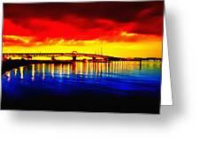 Yorktown Bridge Sunset Greeting Card by Bill Cannon