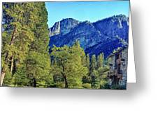 Yosemite Ahwahnee Hotel Courtyard Greeting Card