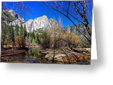 Yosemite Falls Along The Merced River Greeting Card