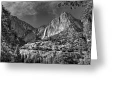 Yosemite Falls - Bw Greeting Card