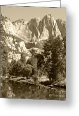 Yosemite Falls Sepia Greeting Card