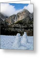 Yosemite Falls Snowmen Greeting Card