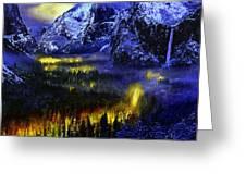Yosemite Valley At Night Greeting Card