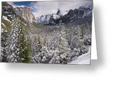 Yosemite Valley In Winter Greeting Card