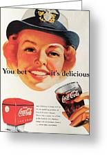 You Bet It's Delicious - Coca Cola Greeting Card by Georgia Fowler
