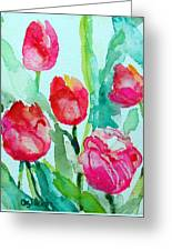 You Enlighten Me- Painting Of Tulips Greeting Card