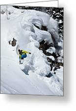 Young Adult Snowboarding Off Powder Greeting Card