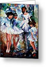 Young Ballerinas - Palette Knife Oil Painting On Canvas By Leonid Afremov Greeting Card