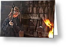 Young Blacksmith Girl Art Prints Greeting Card