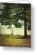 Young Boy Looking Out At The Water Under A Big Tree Greeting Card