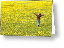 Young Boy Running Through Field Of Greeting Card