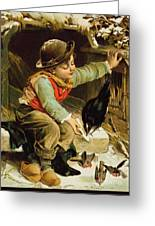 Young Boy With Birds In The Snow Greeting Card