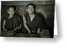 Young Buddhist Monks Greeting Card