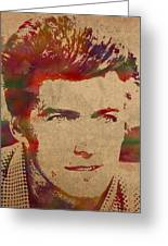 Young Clint Eastwood Actor Watercolor Portrait On Worn Parchment Greeting Card