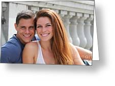 Young Couple Bridge Greeting Card