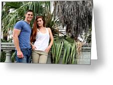 Young Couple Palm Tree Greeting Card