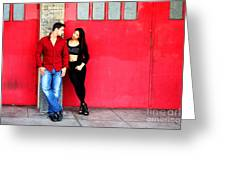 Young Couple Red Doors Greeting Card