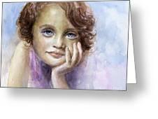 Young Girl Child Watercolor Portrait  Greeting Card by Svetlana Novikova