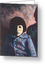 Young Girl In Blue Sweater Greeting Card