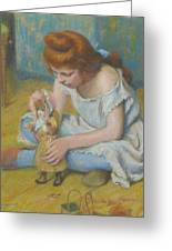Young Girl Playing With A Doll Greeting Card