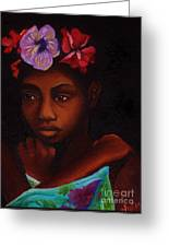 Young Girl With Flowers Greeting Card