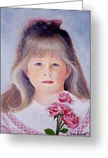 Young Girl With Roses Greeting Card