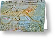 Young God-figure On Wall In Angkor Wat In Angkor Wat Archeological Park Near Siem Reap-cambodia Greeting Card