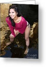 Young Hispanic Woman In Creek Greeting Card