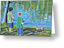 Young Lads Fishing Greeting Card