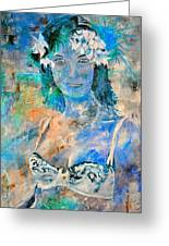 young lady in Papeete Greeting Card