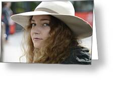 Young Lady With White Hat 1 Greeting Card