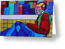 Young Man Sitting Greeting Card by Deborah Glasgow
