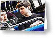 Young Men On The M4 Bus Greeting Card