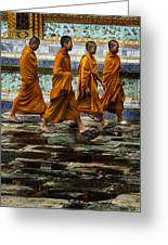 Young Monks Greeting Card by Rob Tullis