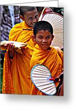 Young Monks Greeting Card