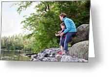 Young Mother Helping Son Fish At Kezar Greeting Card