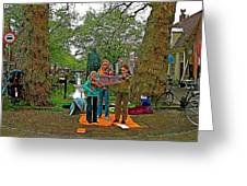 Young Musicians On Orange Day By A Canal In Enkhuizen-netherland Greeting Card