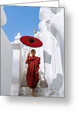 Young Novice Monk Walking On White Pagoda - Myanmar Greeting Card