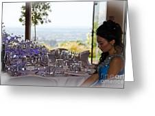 Young Party Girl Waiting For Guests Greeting Card