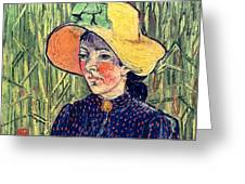 Young Peasant Girl In A Straw Hat Sitting In Front Of A Wheatfield Greeting Card
