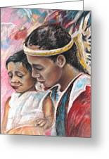 Young Polynesian Mama With Child Greeting Card
