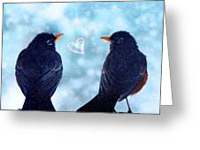 Young Robins In Love Greeting Card