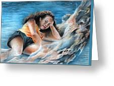 Young Tahitian Mermaid Greeting Card