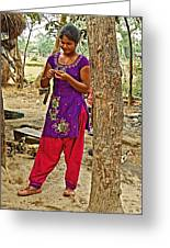 Young Tharu Village Woman In Traditional Nepali Clothing-nepal  Greeting Card