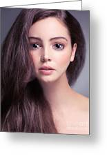 Young Woman Anime Style Beauty Portrait With Beautiful Large Gra Greeting Card