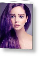 Young Woman Anime Style Beauty Portrait With Large Eyes And Purp Greeting Card