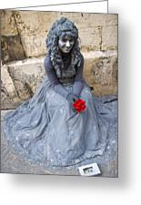 Young Woman Busker In Syracusa Sicily Greeting Card