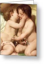 Young Woman Contemplating Two Embracing Children Detail II Greeting Card