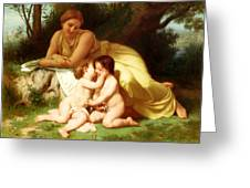 Young Woman Contemplating Two Embracing Children Greeting Card
