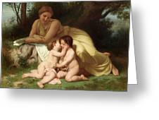 Young Woman Contemplating Two Embracing Children Greeting Card by William Bouguereau